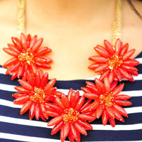 Picking Flowers Necklace: Red/Orange | Hope's