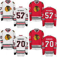 Mens 57 Van Riemsdyk 70 Dennis Rasmusse Jersey Chicago Blackhawks, Premier Away Home Stitched Blackhawk Hockey Jerseys Authentic size s-3xl