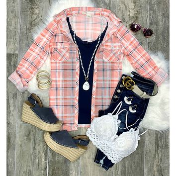 Penny Plaid Flannel Top - Bright Pink/Navy