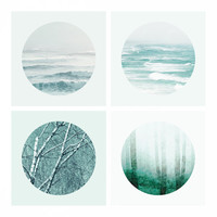 5x5 Landscape Photo Set, Ocean photography, Sea Photography, Abstract Art, Circle Art Print, Mint Green