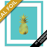 Pineapple Print - Gold Foil Print - Food Poster - Real Foil Kitchen Wall Art - Gold Food Art - Kitchen Art Print - Gift for Chef - Fruit Art