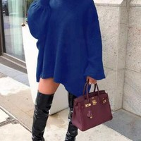 New Blue Irregular High-low Lantern Sleeve Oversized Casual Sweatshirt Mini Dress