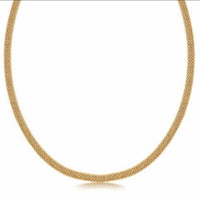 Yellow Gold Plated Popcorn Necklace in Rhodium Plated Sterling Silver
