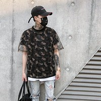 Camouflage Mesh Double Layer Side String High Street Men's T-Shirt Off Shoulder Tee Shirts Men Clothing