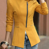 Solid Color Zippered Long Sleeve Blazer