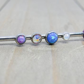 Titanium industrial piercing barbell jewelry 14g five gemstone double cartilage piercing bar 1 1/4""