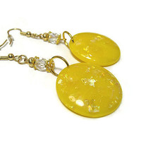 Large AB Glitter Sparkle Dangle Drop Yellow Earrings Gold Plated Hypoallergenic Abstract Womens Round Resin