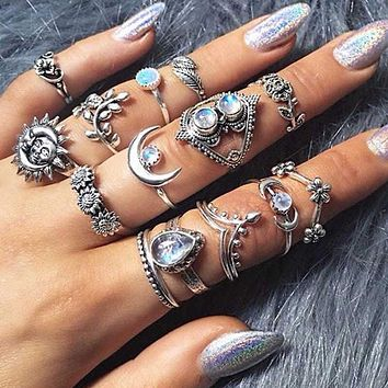 Retro Sunflower Sun Moon Flower Water Drop Carving 14 Piece Set Ring Joint Ring