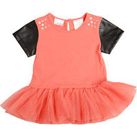Kardashian Kids Girls Coral Tulle Peplum Top with Leatherette Short Sleeves