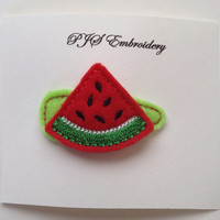 Watermelon Slice Felt Snap Clip Barrette