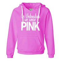 She Squats Clothing On-Wednesdays We Wear Pink Hooded Sweatshirt Yellow Medium (4-6) Womens