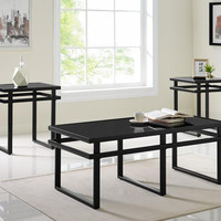 Onyx Black Glass Coffee Table Set