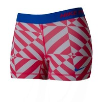 """Nike Women's Pro 5"""" Printed Fitted Shorts (XL, Red/White/Blue)"""