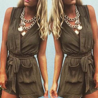 Brown Casual Turn Down Collar Romper