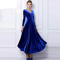 Winter Women Plus Size Velvet Dress Long Sleeve Maxi Dress Evening Party Vintage Dress Black Blue Green Purple Vestido