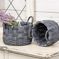 Set of 2 Grey Gathering Baskets with Rope Handles