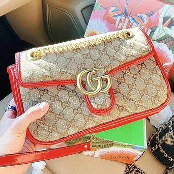 GUCCI Fashion New More Letter Print Leather Shopping Leisure Chain Shoulder Bag Crossbody Bag