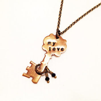 My Love Key Necklace, Vintaj Hand Stamped Deep Purple Crystals