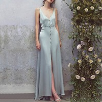 Sexy Deep V Neck Sleeveless Women Long Dress