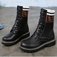 Fendi New fashion autumn and winter letter print knit leather leisure high top short women retro boots shoes Black