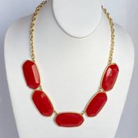 Del Norte Statement Necklace Set In Red