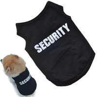2016 Newly Design SECURITY Black Dog Vest Summer Pets Dogs Cotton Clothes Shirts Apparel cat clothes for dogs cats vest T-shirts