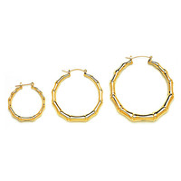Gold Plated Bamboo Hoop Earrings