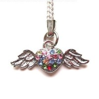Cell Phone/ Camera / Bag/ Charm Strap Beautiful Colorful Diamond Flying Heart