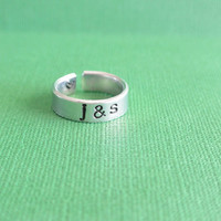 Initials With Heart Hand Stamped Cuff Ring Adjustable Shiny Silver Gift For Her Couples Relationship Family Marriage Aluminum Nickel Free