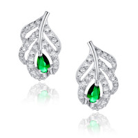 Peacock Feather W. Green Teardrop and Clear Round Cubic Zirconia Stud Earrings