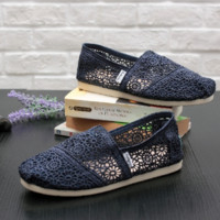 TOMS Natural Crochet Classics Flats Fashion hollow Summer Sexy Loose Shoes black