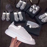 Alexander Mcqueen 19ss 3M Reflective Thick-soled Shoes Small White Shoes-3