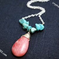 Good quality natural rhodochrosite stone necklace, handmade pink stone turquoise necklace, rhodochrosite healing necklace  stone necklace