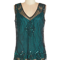 ModCloth Vintage Inspired Mid-length Sleeveless Sequin of Light Top