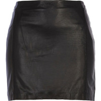 River Island Womens Black leather mini skirt
