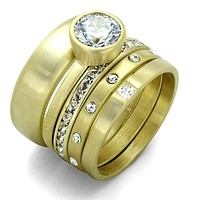 Vintage Gold Rings LO3645 Gold & Brush Brass Ring with AAA Grade CZ