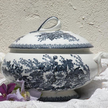 French antique blue ironstone tureen, ironstone soup tureen, blue transferware, antique jardiniere, French country, antique blue soupiere