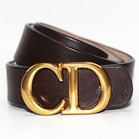 Dior Tide brand simple men and women models CD letter buckle belt Coffee
