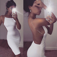 White Sexy Party Dresses Women Night Club dress backless Summer Dress 2016 vestido Spaghetti Strap Bodycon Dress Vestidos