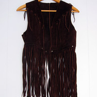 Vintage 70s Leather Fringe Vest Biker Rocker Hippie XS S