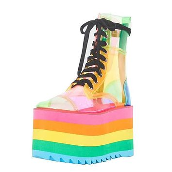 Women Fashion Colorful Round Toe Thick Platform Ankle Boots