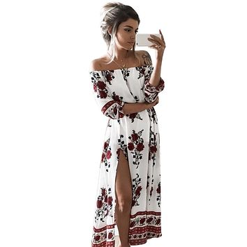 2017 Women Vintage Floral Half Sleeve Split Dress WCDR1997