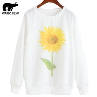 WAIBO BEAR Fashion Women Hoddies Sunflower Printed Sweatshirt Women White Women Tracksuits Suits Loose Outerwear Lady