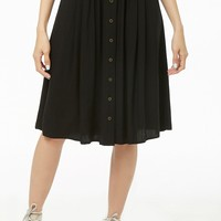 Button-Front Knee-Length Skirt