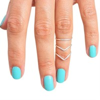 Sterling Silver Double Chevron V Plain Band Adjustable Midi Toe Ring