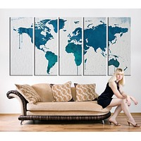 Canvas Art Print Turquoise Blue World Map Art Extra Large Watercolor World Map Print for Home and