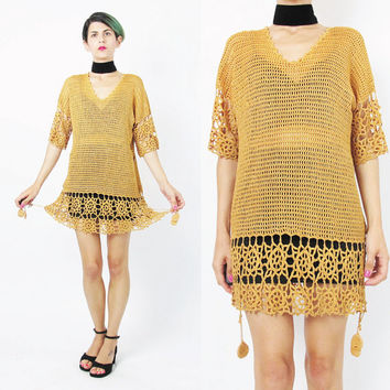 1990s Floral Crochet Knit Dress Mustard Sweater Sheer Hand Knitted Dress Cut Out Open Knit Top Vintage Gold Sweater Dress Cover Up (M/L)