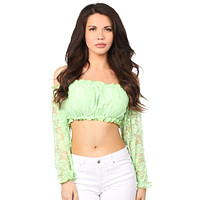 Plus Size Lt Green Lined Lace Long Sleeve Peasant Top