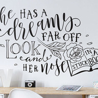 Beauty and the Beast Wall Decal - She Has A Dreamy Far Off Look And Her Nose Stuck In A Book - Disney Inspired Wall Decal, Nursery Decal