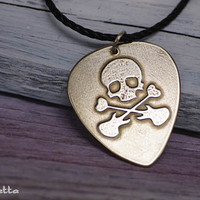 "Skull - Custom guitar pick necklace - large - ""Classy Pick"" brand - Nickel silver guitar gifts for music lowers"